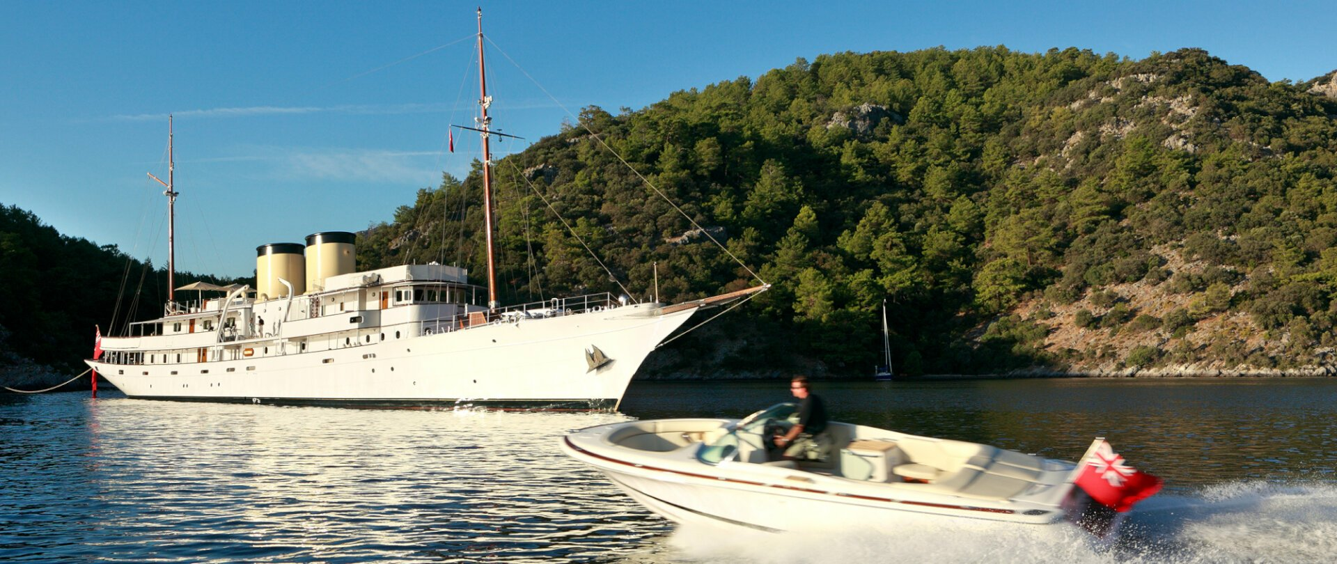 Superyacht Talitha moored by Turkish island