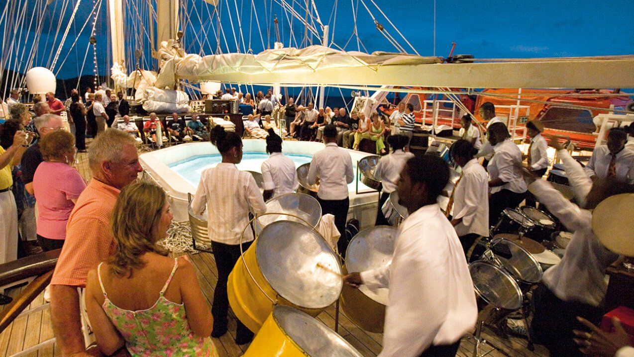 Party on the deck of a sailing yacht