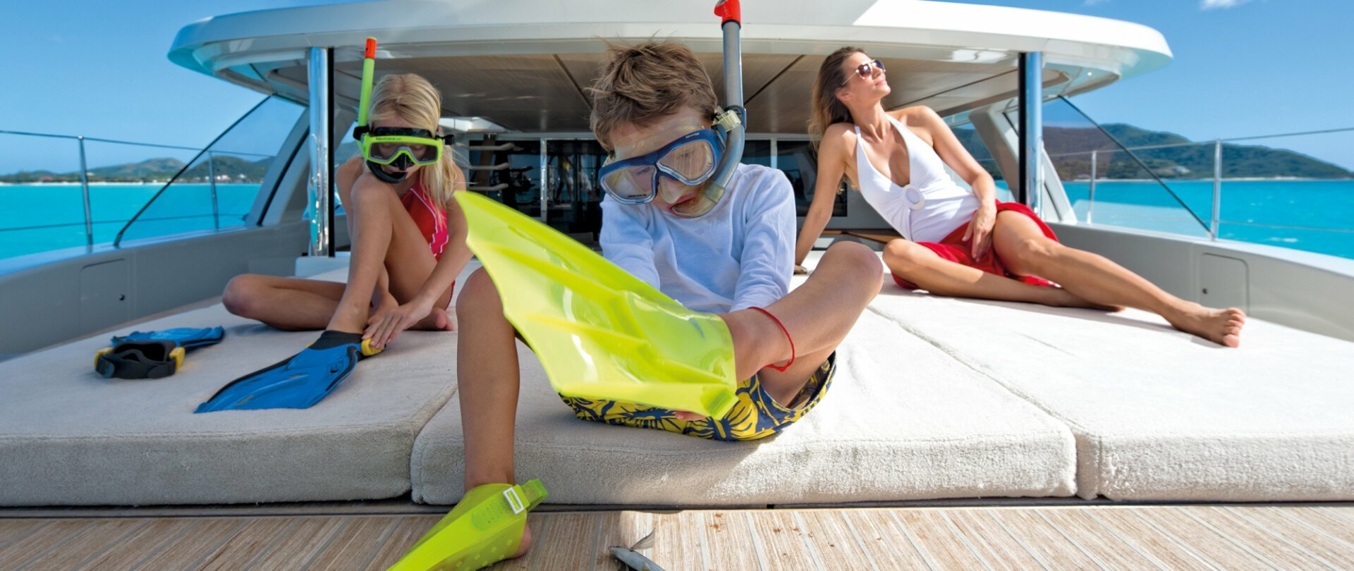 Preparing to go snorkelling in the Windward Islands from a yacht