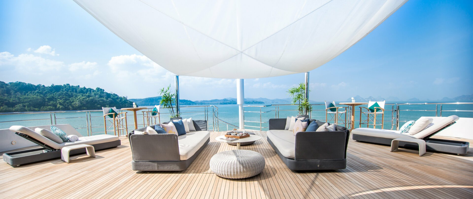 View of Thailand coast from the deck of a yacht