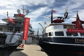 Two yachts at the Fort Lauderdale International Boat Show