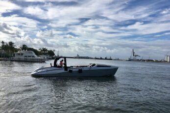 A small picnic boat during the Fort Lauderdale International Boat Show