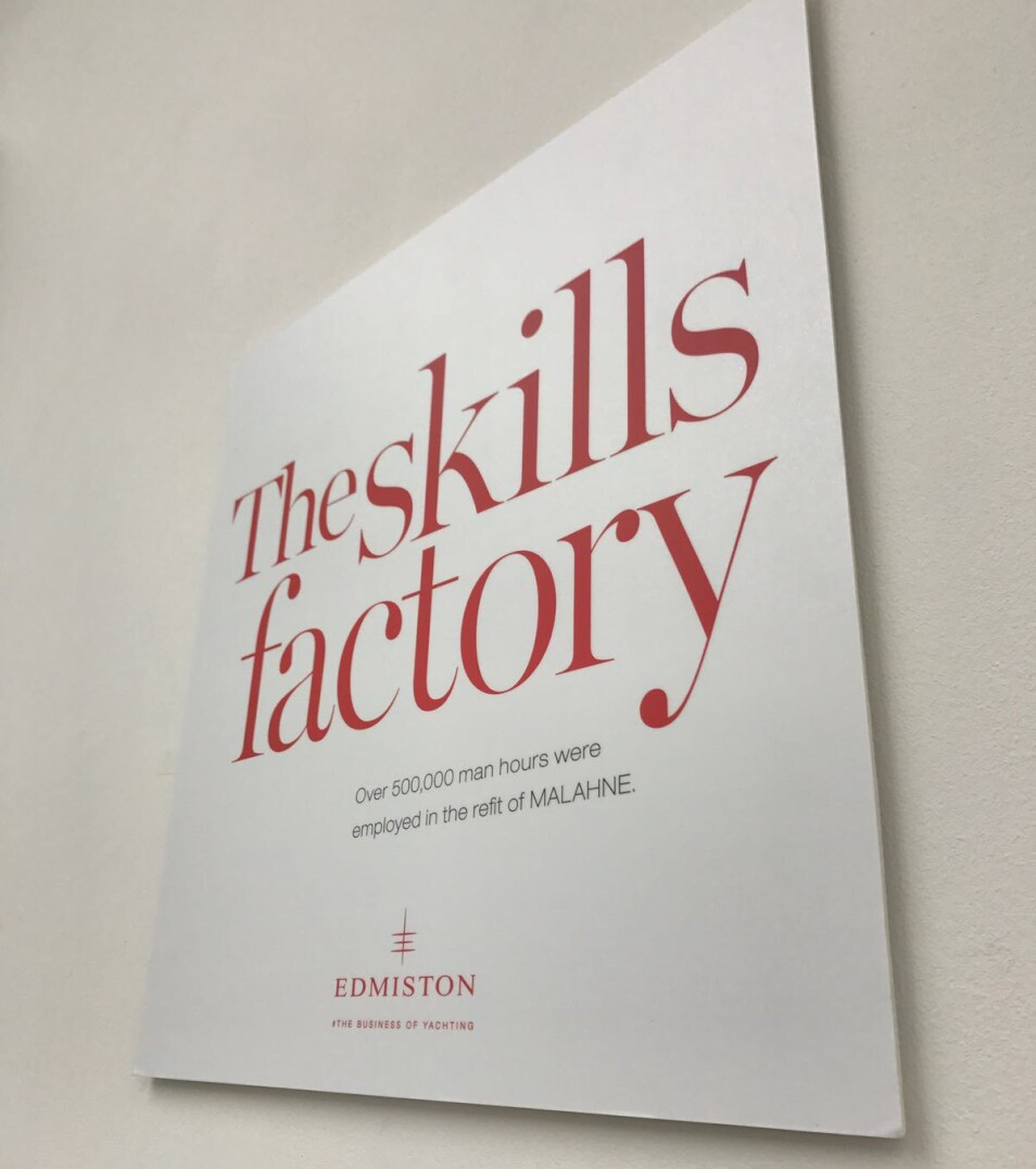 The Skills Factory poster at the superyacht gallery open