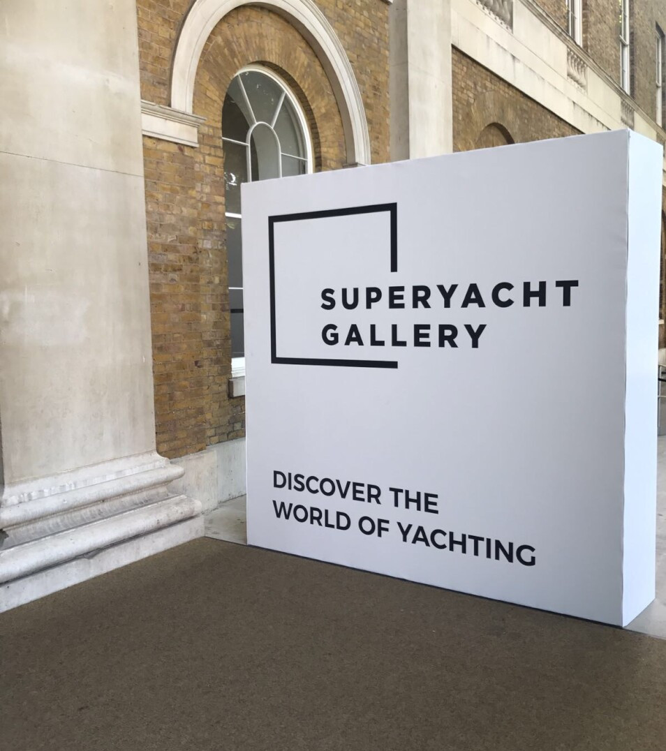 A Superyacht Gallery sign saying Discover The World Of Yachting