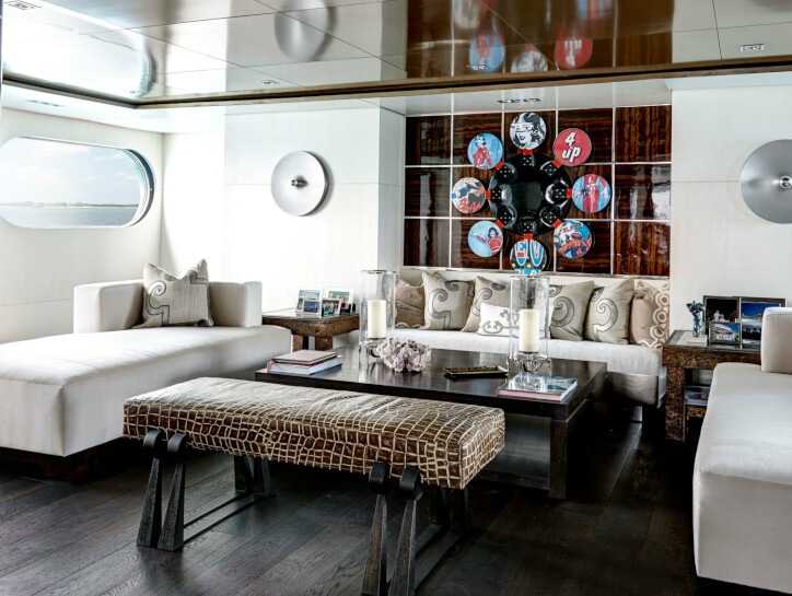Highlander Living room space on Highlander yacht, with crocodile skin seats and wooden interior