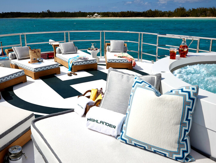 Highlander The outer deck on the Highlander Yacht, with 5 deck beds by a jacuzzi