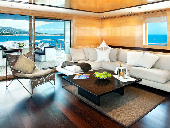 Christina G The interior living space of the Christina G yacht, with wall sized window