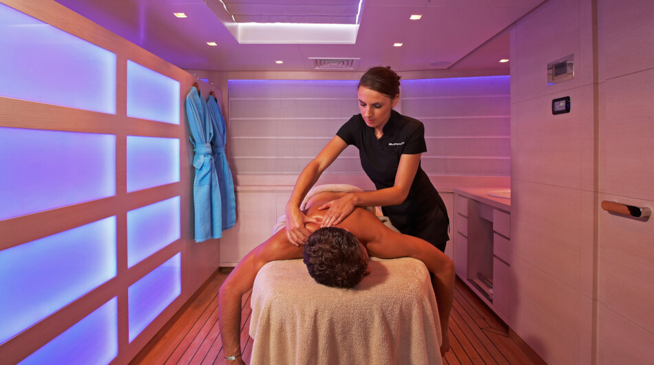 Wellness centre on top deck with spa and gym